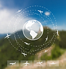 Gestaltung von Karten für weltweite Reisen. Web und
