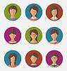Set bunte weibliche Gesichter Kreis Icons, trendy