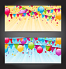 Векторный клипарт: Абстрактные баннеры с разноцветными воздушными шарами, висит