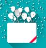 Векторный клипарт: Поздравительная открытка с воздушными шарами для счастливого дня рождения,