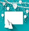 Векторный клипарт: Празднование карту с Партийные шляпы, воздушные шары, confett