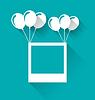 Векторный клипарт: Бланк фоторамка с воздушными шарами для Вашего отдыха