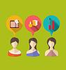 Векторный клипарт: Три женщины с слова и мысли пузыри, плоский