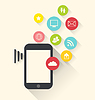 Векторный клипарт: Смартфон устройство при помощи приложений (App) иконок,