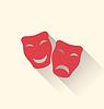 Векторный клипарт: Плоские иконы комедии и трагедии маски для