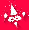 Векторный клипарт: Карнавал фон с партии шляпу, воздушные шары, и