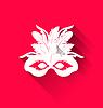 Векторный клипарт: Карнавальная маска с перьями с тенями, модный
