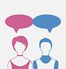 Mann und Frau mit Dialog Sprechblasen, zurück