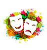 Векторный клипарт: Комедии и трагедии простые маски для карнавала на