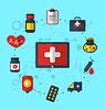 Векторный клипарт: Tablet PC с медицинскими иконки для веб-дизайна,