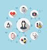 Векторный клипарт: Установите модные плоские иконки медицинских элементов и медсестры