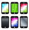 Векторный клипарт: Черный мобильный телефон с различными обои