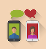 Векторный клипарт: Двое влюбленных связи с мобильными телефонами,