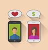 Векторный клипарт: Поддельные отношения, женщина со знаком доллара вместо O