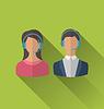 Векторный клипарт: Иконы мужского и женского аватары для операторов