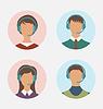 Векторный клипарт: Иконы оператора центра обработки вызовов с мужчиной и женщиной АР