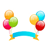 Векторный клипарт: Красочные воздушные шары с лентой за место вашего текста