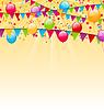Urlaub Hintergrund mit bunten Luftballons, hängend