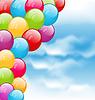Векторный клипарт: Полет красочные воздушные шары в голубом небе