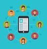 Векторный клипарт: Смартфон с Страница профиля социальной сети и