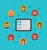 Векторный клипарт: Планшетный компьютер с Страница профиля социальной сети ап