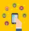 Векторный клипарт: Социальная связь с профильным странице по телефону и