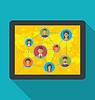 Векторный клипарт: Планшетный компьютер с социальной сетью и дружбы