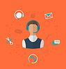 Векторный клипарт: Концепция 24h онлайновой поддержки клиентов,