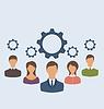 Векторный клипарт: Деловые люди с зубчатых колес, взаимодействие бизнес