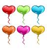 Векторный клипарт: Установить красочные воздушные шары в форме сердца б