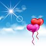 Векторный клипарт: Два глянцевый сердца воздушные шары для День Святого Валентина