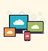 Konzept des Cloud-Service und mobile Geräte,