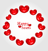 Runde Rahmen in lächelnde Herzen zum Valentinstag gemacht