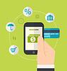 Konzepte von Online-Zahlungsmethoden. Icons für onlin