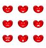 Набор улыбки форме сердца с много эмоций