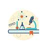 Inżynieria chemiczna tła z płaską ikony | Stock Vector Graphics