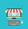 Konzept der Online-Shop, flachen Icons von Computer,