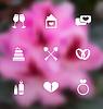 Trendy flachen Icons für den Valentinstag, verschwommenes Layout