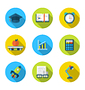 Wohnung Symbole der Elemente und Objekte für die High-School-