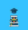 Wohnung Ikonen der Abschlusskappe und Haufen Schulbücher