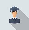 Wohnung Symbol der männlichen Absolventen in Graduierung Hut,