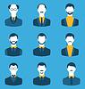 Set Geschäftsleute, vor Porträt von Männern auf Blu