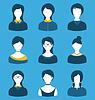 Set weibliche Charaktere, vor Porträt, auf blau