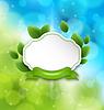 Abstrakt Etikett mit Öko grünen Blättern und Band auf