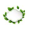 Abstrakt Etikett mit Öko grünen Blättern,