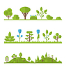 Sammlung legen Sie flach Symbole Baum, Kiefer, Eiche, Fichte,