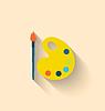 Modern Flat Icon von Pinsel und Palette mit den Lacken