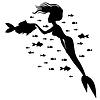 Silhouette Meerjungfrau und Fisch