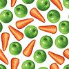 Karotten und grüne Äpfel Muster nahtlose