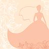 Векторный клипарт: Свадебная открытка с невестой в разноцветных цветов